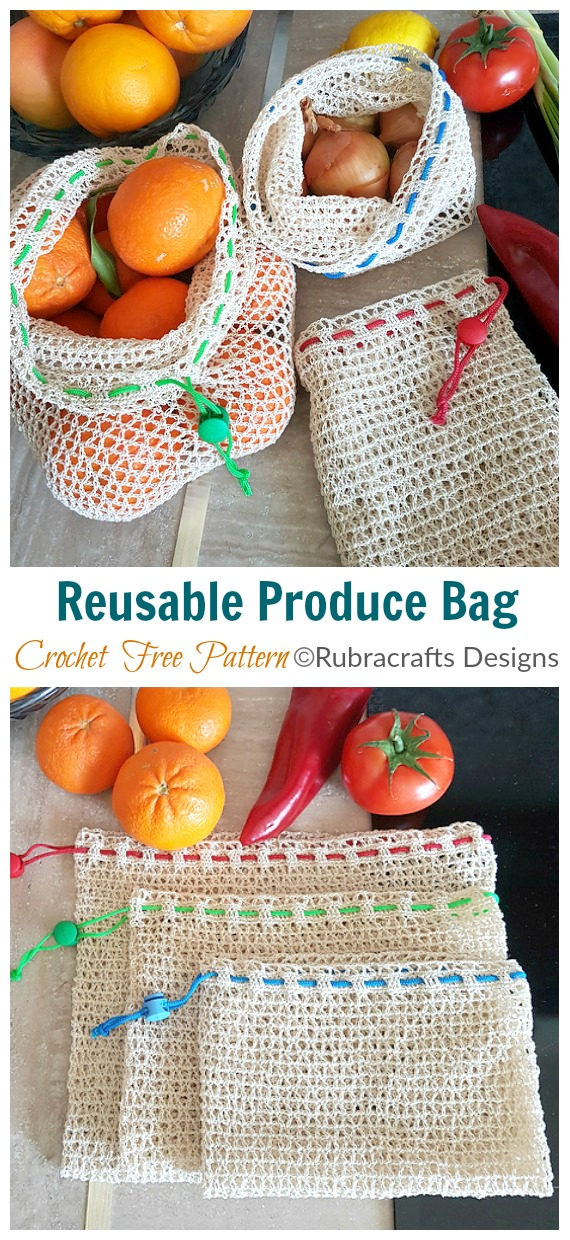 Reusable Produce Bag Crochet Free Pattern - Trendy Free Market #Bag; #Crochet; Patterns