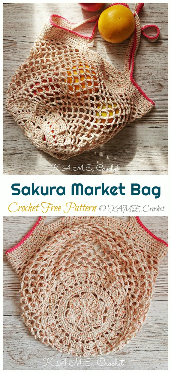 Sakura Market Bag Crochet Free Pattern - Trendy Free Market #Bag; #Crochet; Patterns