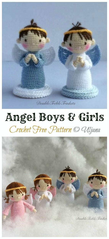 Crochet Angel Boys and Girls Amigurumi Free Pattern - #Amigurumi; #Angel; Doll Crochet Patterns