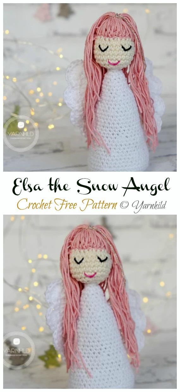 Crochet Elsa the Snow Angel Amigurumi Free Pattern - #Amigurumi; #Angel; Doll Crochet Patterns