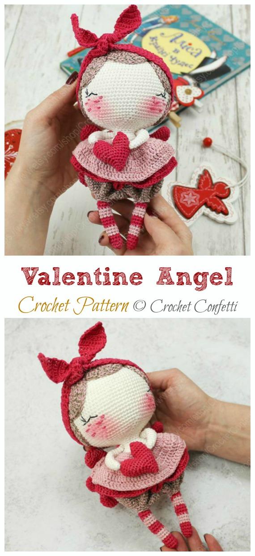 Valentine Angel Amigurumi Pattern - #Amigurumi; #Angel; Doll Crochet Patterns