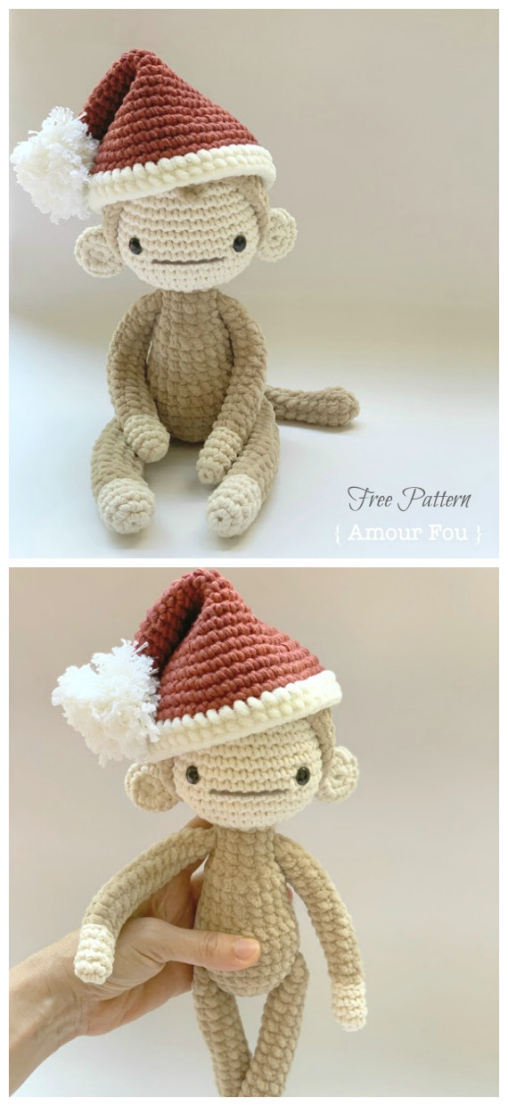 Christmas Monkey Amigurumi Free Pattern - #Amigurumi; #Monkey; Softies Crochet Free Patterns