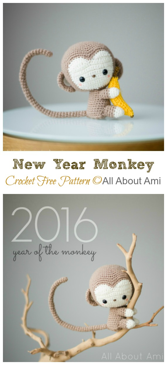 Crochet New Year Monkey Amigurumi Free Pattern - #Amigurumi; #Monkey; Softies Crochet Free Patterns