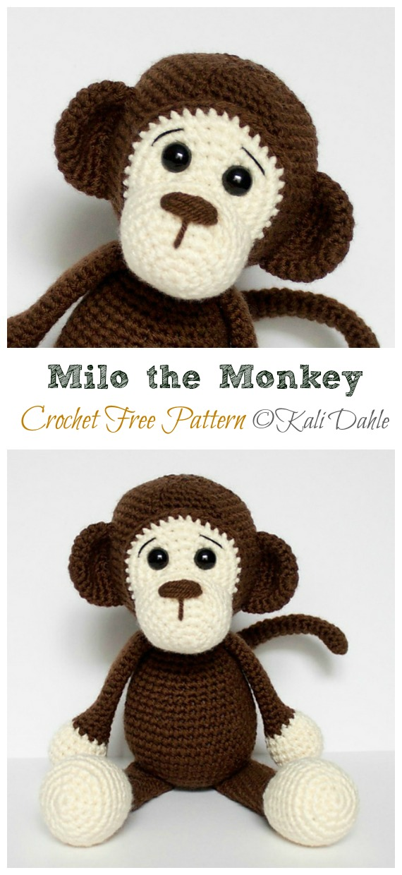 Crochet Milo the Monkey Amigurumi Free Pattern - #Amigurumi; #Monkey; Softies Crochet Free Patterns