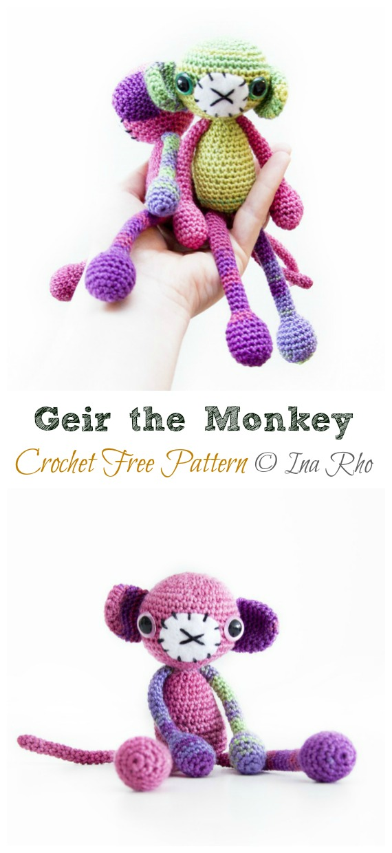 Crochet Geir the Crochet Monkey Amigurumi Free Pattern - #Amigurumi; #Monkey; Softies Crochet Free Patterns