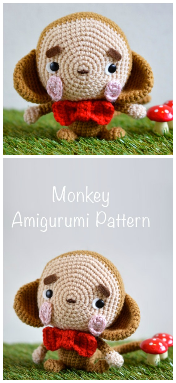 Crochet Lucky Daikichi Monkey Amigurumi Free Pattern - #Amigurumi; #Monkey; Softies Crochet Free Patterns