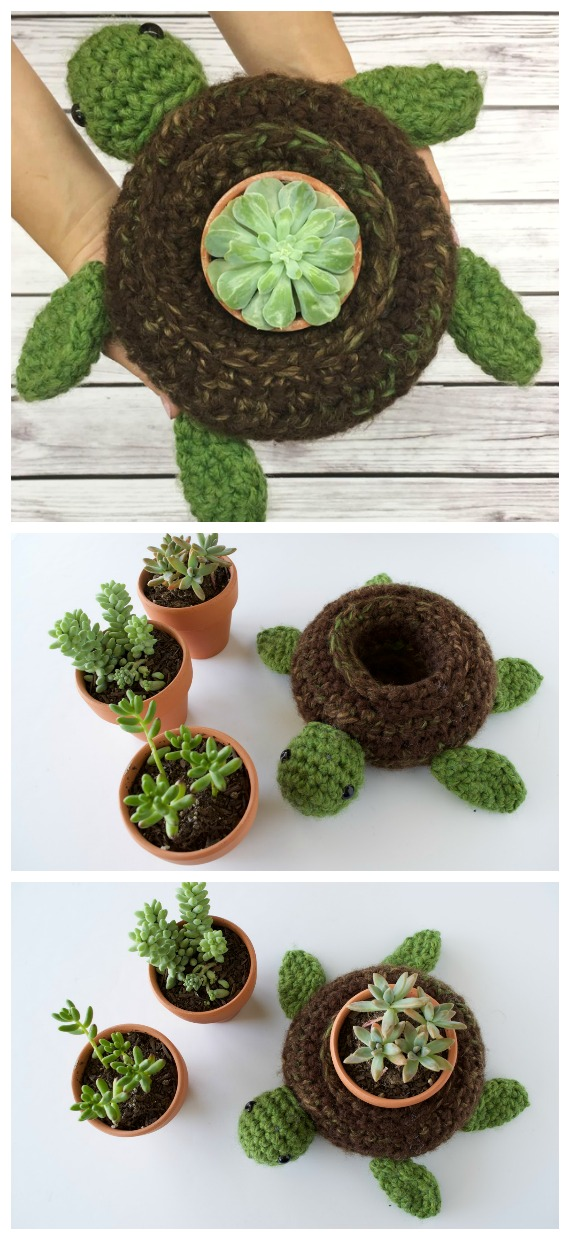 World Turtle Succulent Holder Crochet Free Pattern - #Crochet; #Planter; Plant Pot Cozy Free Patterns