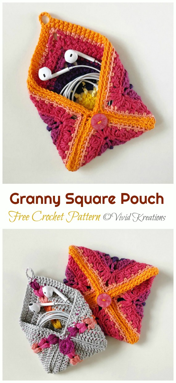 Granny Square Pouch Crochet Free Pattern - #Earbud; Pouch Free #Crochet; Patterns