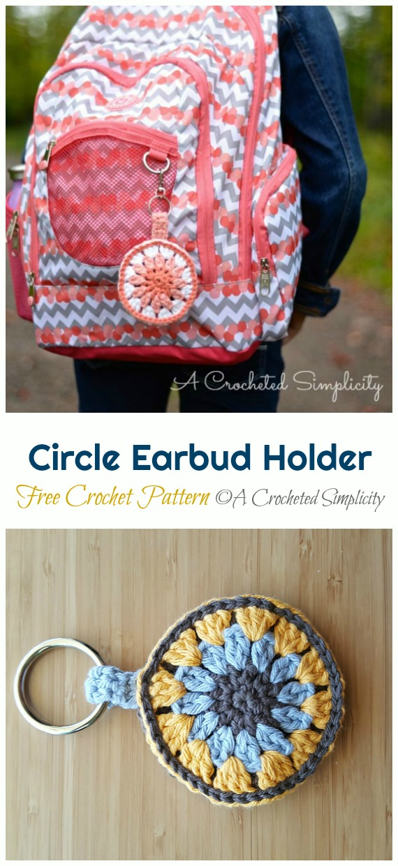 Quick Circle Earbud Holder Crochet Free Pattern - #Earbud; Pouch Free #Crochet; Patterns