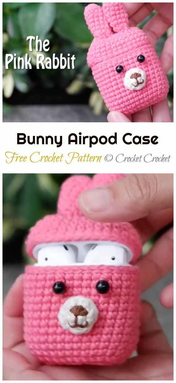 5 Animal Bunny Airpod Case Crochet Free Pattern - #Earbud; Pouch Free #Crochet; Patterns