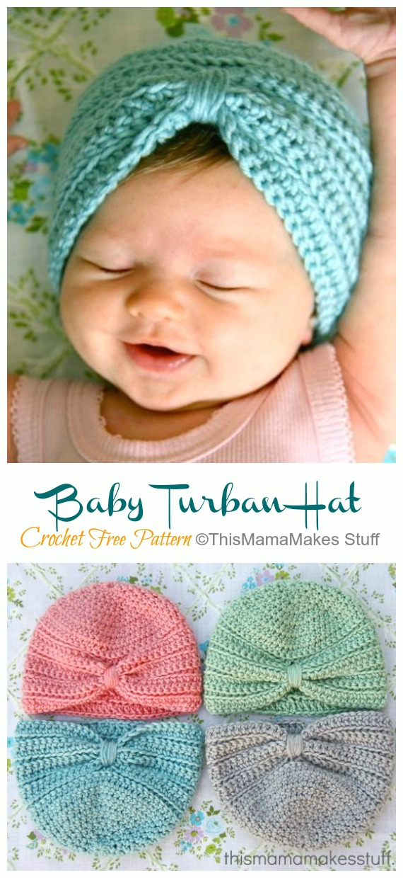 Basic Baby Turban Hat Crochet Free Pattern - #Crochet; #Turban; Hat Free Patterns
