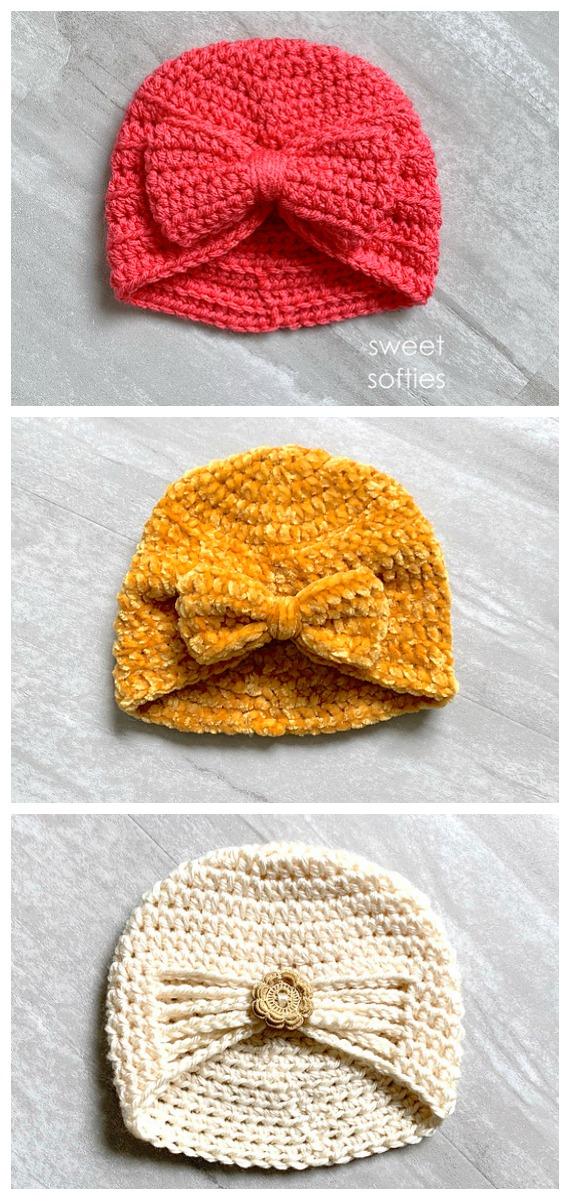 3 Baby Turban Hat Crochet Free Patterns - #Crochet; #Turban; Hat Free Patterns