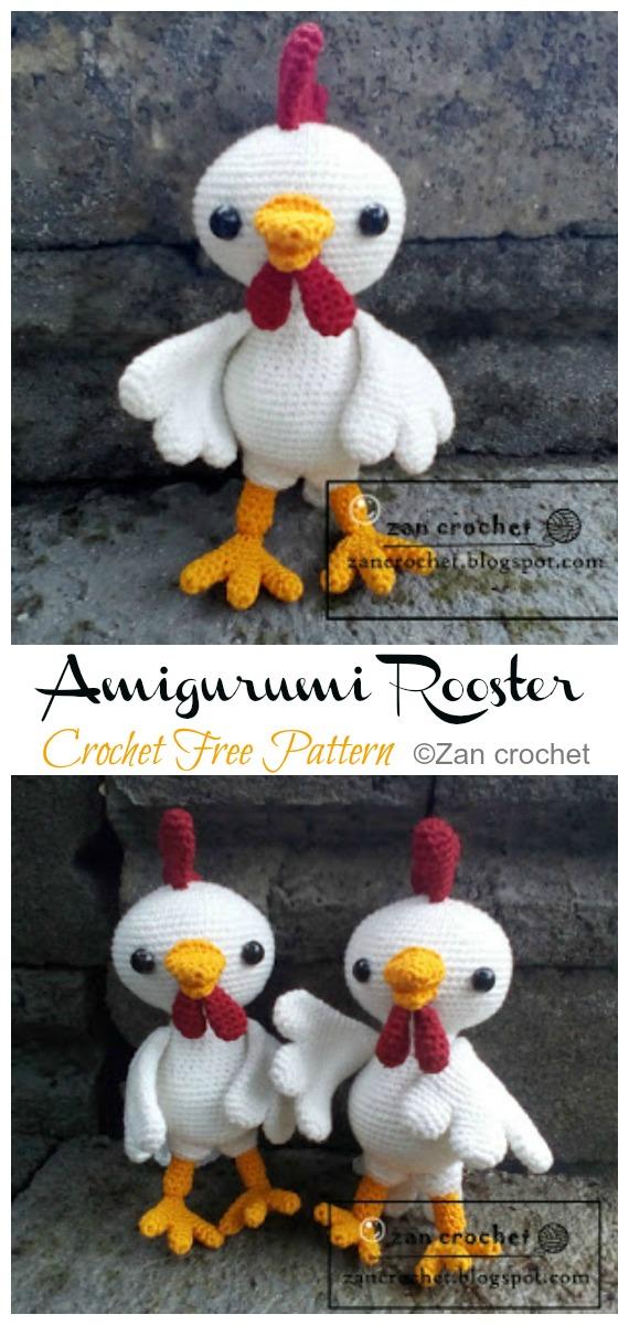 Crochet Rooster Amigurum Free Pattern - #Amigurumi; Easter #Rooster; Crochet Free Patterns