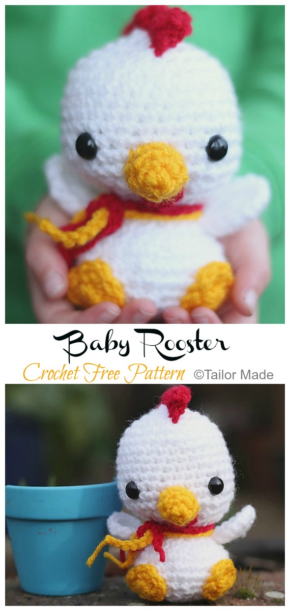 Baby Rooster Amigurumi Free Pattern - #Amigurumi; Easter #Rooster; Crochet Free Patterns
