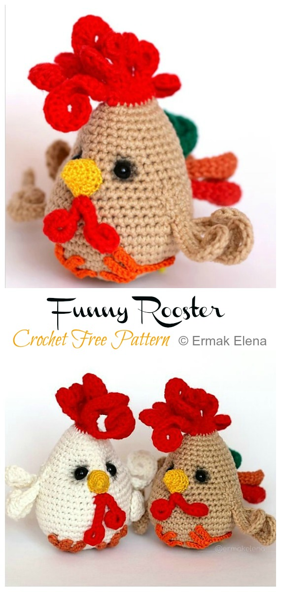 Funny Rooster Amigurumi Free Pattern - #Amigurumi; Easter #Rooster; Crochet Free Patterns