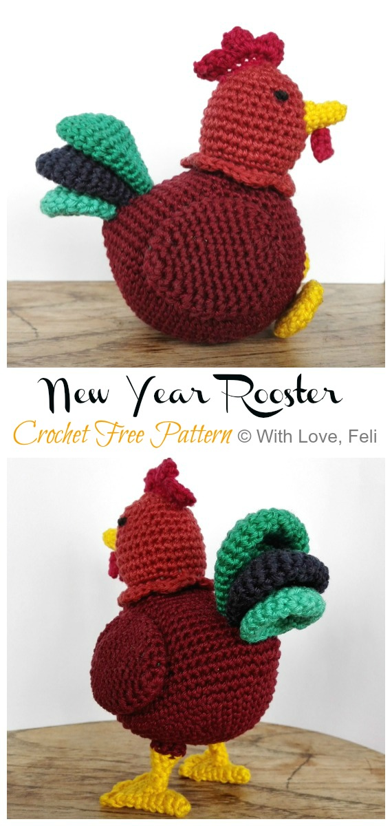 Crochet  Rooster for Chinese New Year Amigurumi Free Pattern - #Amigurumi; Easter #Rooster; Crochet Free Patterns
