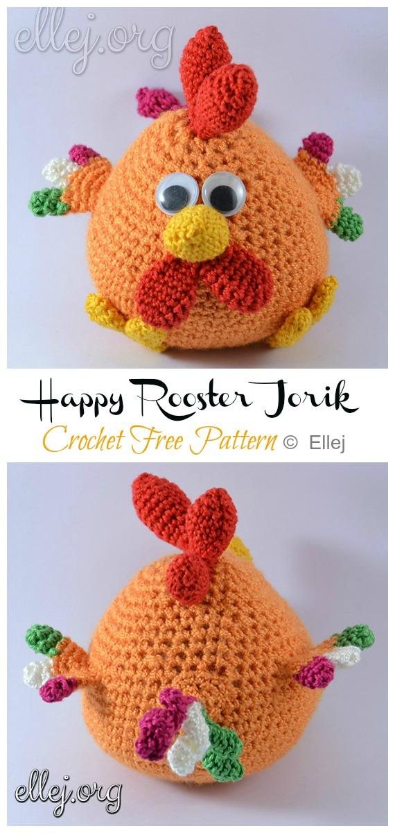 Crochet Happy Rooster Jorik Amigurumi Free Pattern - #Amigurumi; Easter #Rooster; Crochet Free Patterns