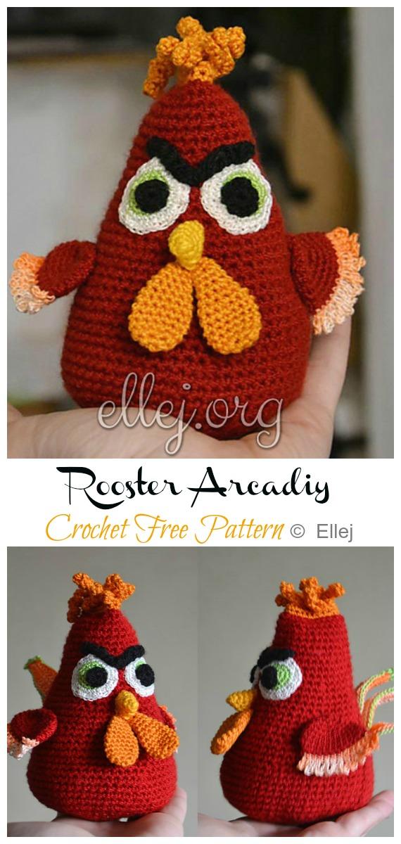Crochet Rooster Arcadiy Amigurumi Free Pattern - #Amigurumi; Easter #Rooster; Crochet Free Patterns
