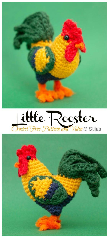 Crochet Little Rooster Amigurum Free Pattern - #Amigurumi; Easter #Rooster; Crochet Free Patterns