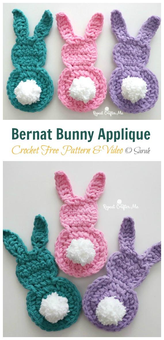 Bernat Bunny Applique Crochet Free Pattern - #Crochet; Bunny #Applique; Free Patterns