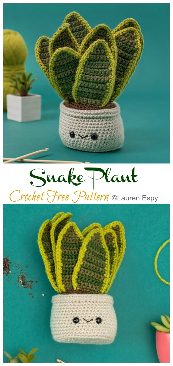Crochet Snake Plant Amigurumi  Free Pattern- Fun House Plant #Crochet; Free Patterns
