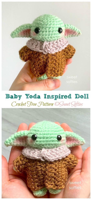 Crochet Baby Yoda Doll Amigurumi Free Pattern - #Amigurumi; Star War #Yoda; Free Crochet Patterns