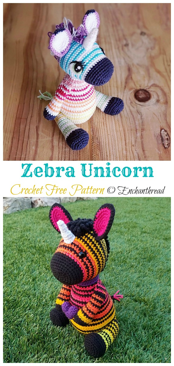 Crochet Zebra Unicorn Amigurumi Free Pattern - #Amigurumi; #Zebra; Crochet Free Patterns