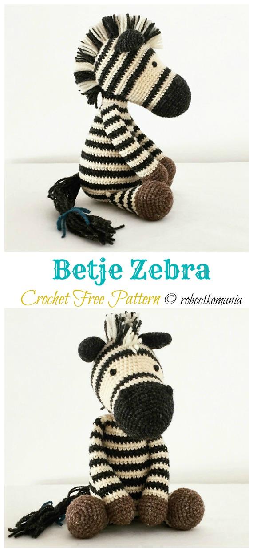 Crochet Zebra based on Yarnspirations Knit Zebra - Repeat Crafter Me | 1240x570