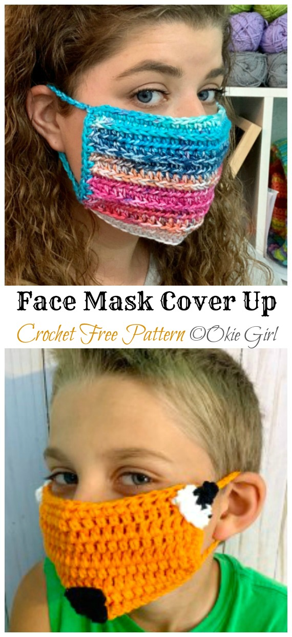 Crochet Face Mask Cover Up Free Pattern - Face #Mask; #Crochet; Free Patterns