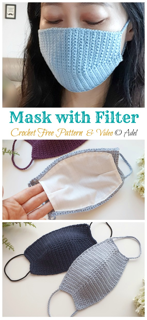 Face Mask with filter replacement Free Pattern - Face #Mask; #Crochet; Free Patterns