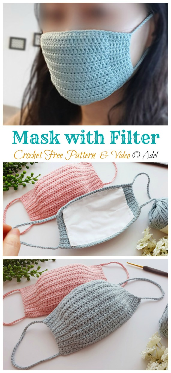 Crochet Face Mask with filter replacement Free Pattern - Face #Mask; #Crochet; Free Patterns