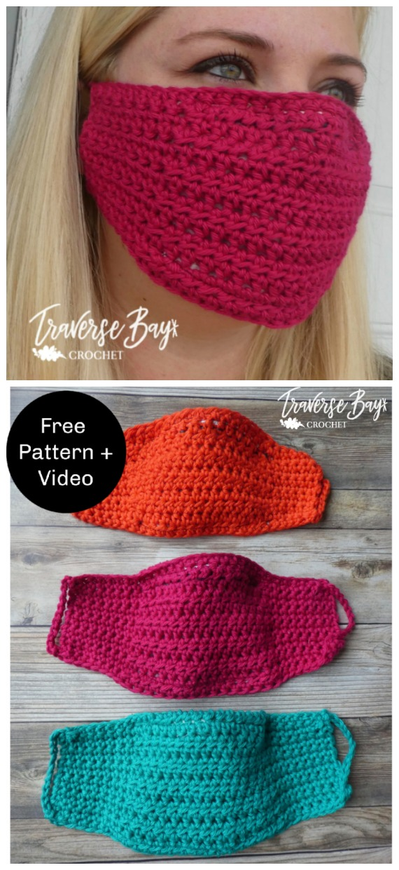 Easy DIY Crochet Face Mask with Filter Free Pattern - Face #Mask; #Crochet; Free Patterns