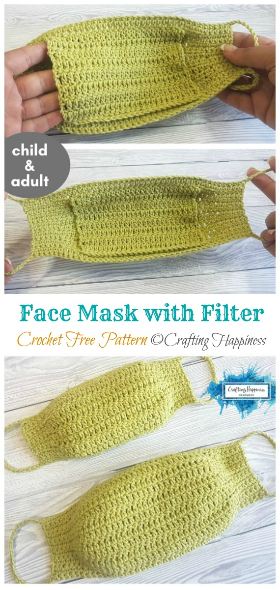Crochet Face Mask With Filter Pocket Free Pattern - Face #Mask; #Crochet; Free Patterns