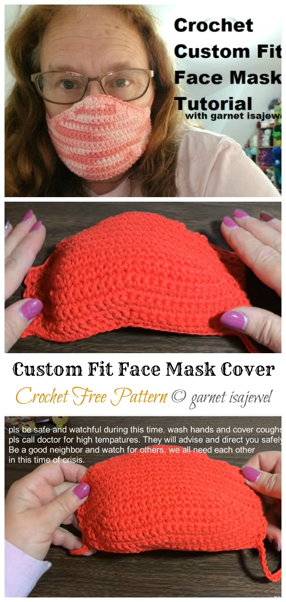 Crochet Custom Fit Face Mask Cover Free Pattern & Video - Face #Mask; #Crochet; Free Patterns