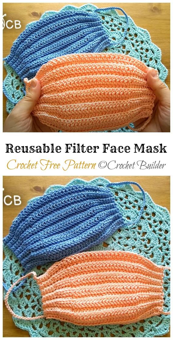 Crochet Reusable Filter Face Mask Free Pattern - Face #Mask; #Crochet; Free Patterns