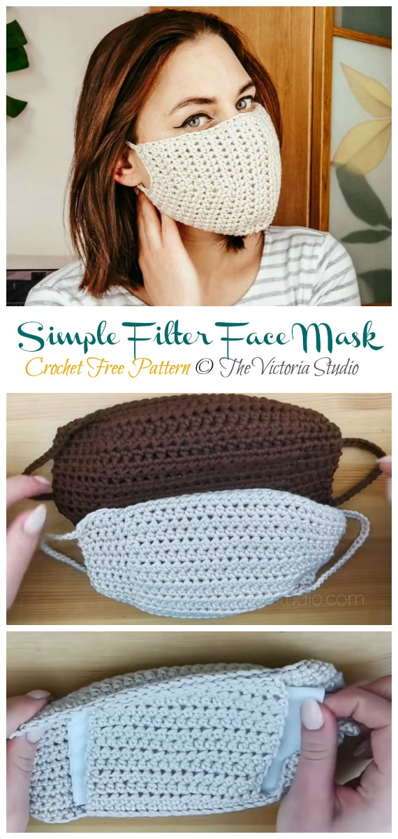 Crochet Simple Filter Face Mask Free Pattern - Face #Mask; #Crochet; Free Patterns