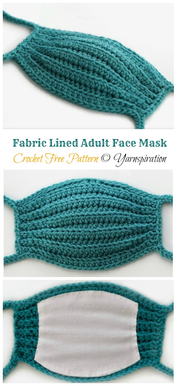 Crochet Fabric Lined Adult Face Mask Free Pattern - Face #Mask; #Crochet; Free Patterns