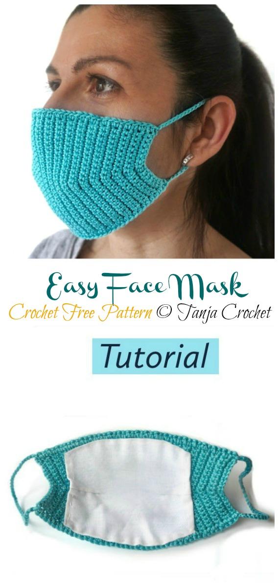 Crochet Easy Face Mask Free Pattern - Face #Mask; #Crochet; Free Patterns