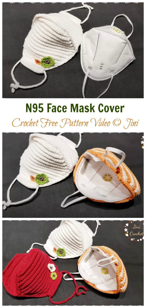 Solid N95 Face Mask Cover Crochet Free Pattern - Face #Mask; #Crochet; Free Patterns