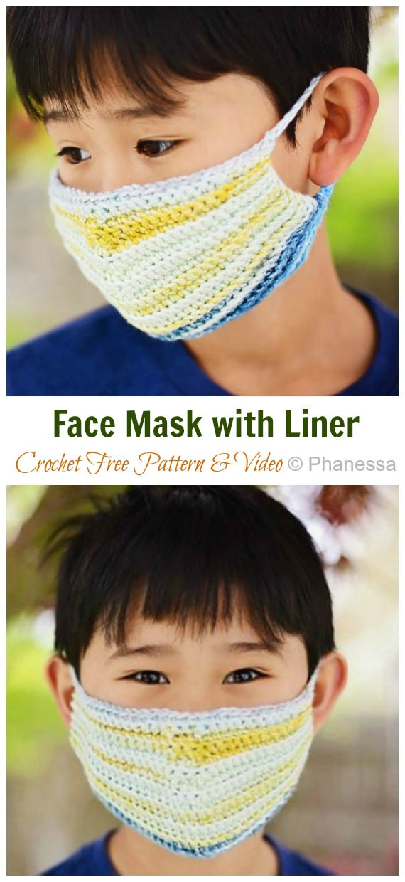 Face Mask with Liner Crochet Free Pattern - Face #Mask; #Crochet; Free Patterns