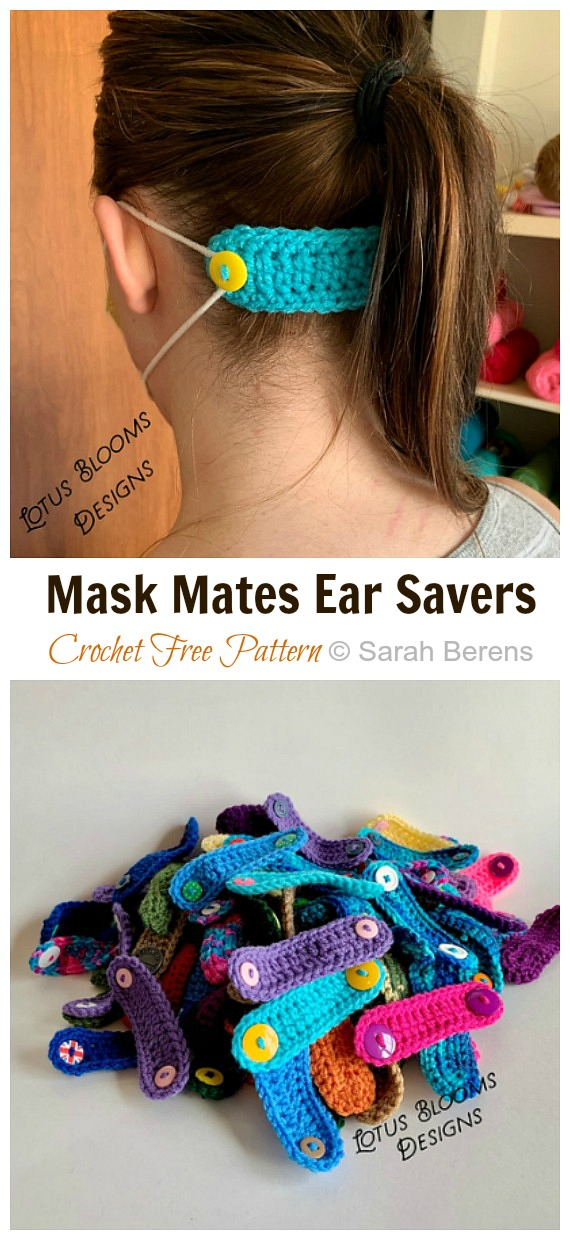 Crochet Mask Mates Ear Savers Free Pattern - Face #Mask; Straps Ear Saver #Crochet; Free Patterns