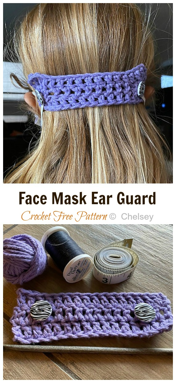 Crochet Face Mask Ear Guard Free Pattern - Face #Mask; Straps Ear Saver #Crochet; Free Patterns