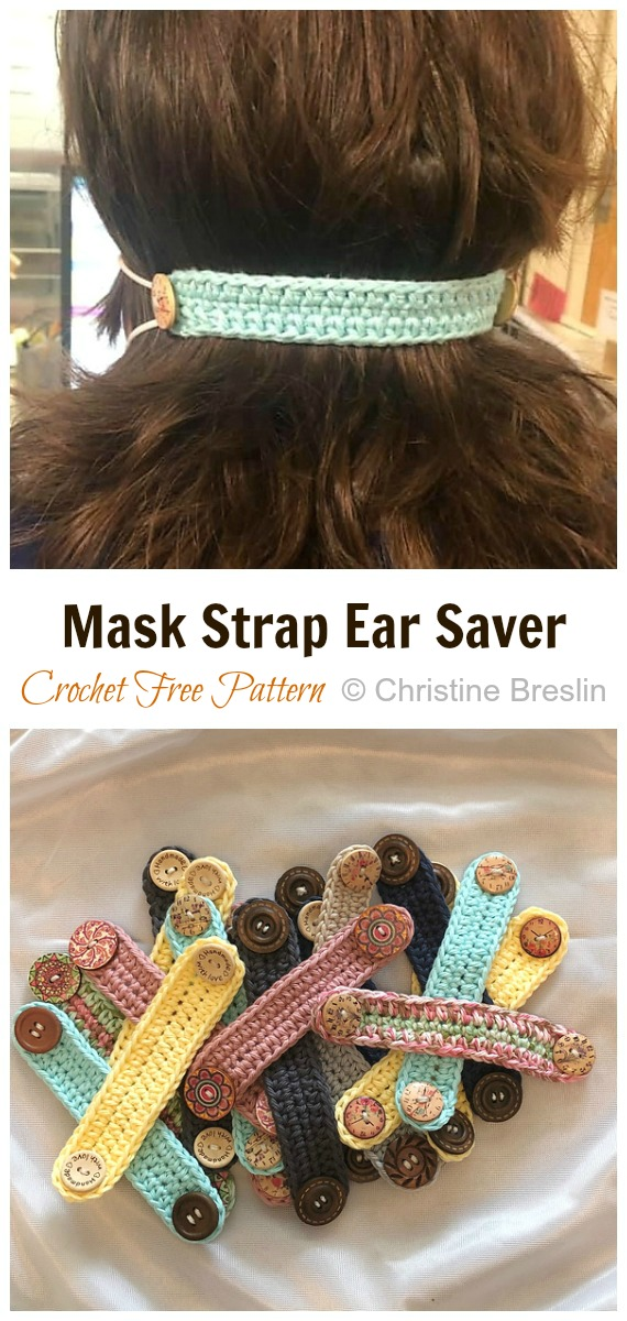 Crochet  Mask Strap Ear Saver Free Pattern - Face #Mask; Straps Ear Saver #Crochet; Free Patterns