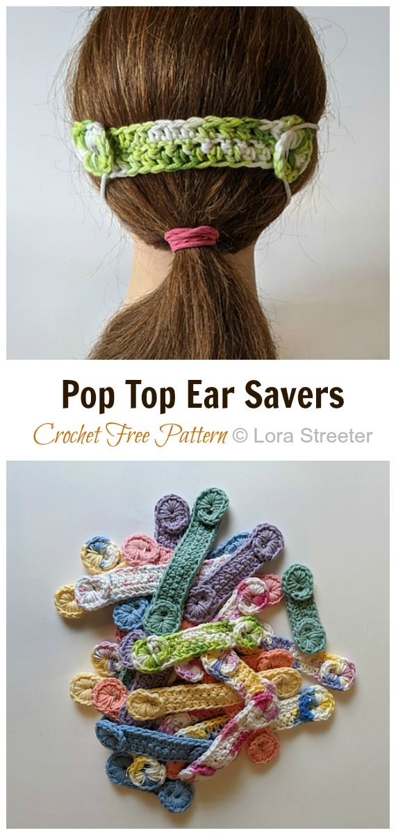 Crochet Pop Top Ear Savers Free Pattern - Face #Mask; Straps Ear Saver #Crochet; Free Patterns