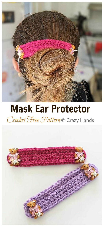 Crochet Mask Ear Protector Free Pattern - Face #Mask; Straps Ear Saver #Crochet; Free Patterns