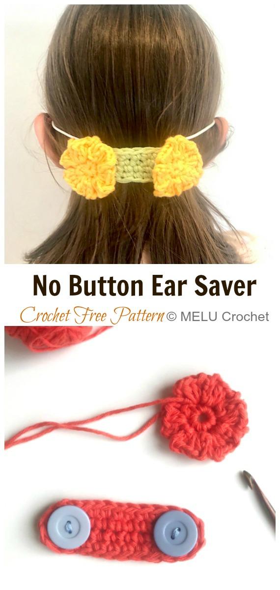 Crochet No Button Flower Ear Saver Free Pattern - Face #Mask; Straps Ear Saver #Crochet; Free Patterns