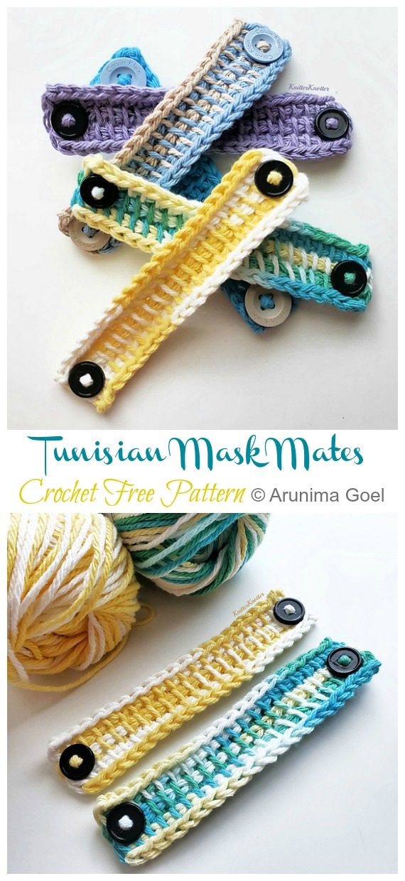 Tunisian Mask Mates / Ear Savers Free Crochet Pattern - Face #Mask; Straps Ear Saver #Crochet; Free Patterns