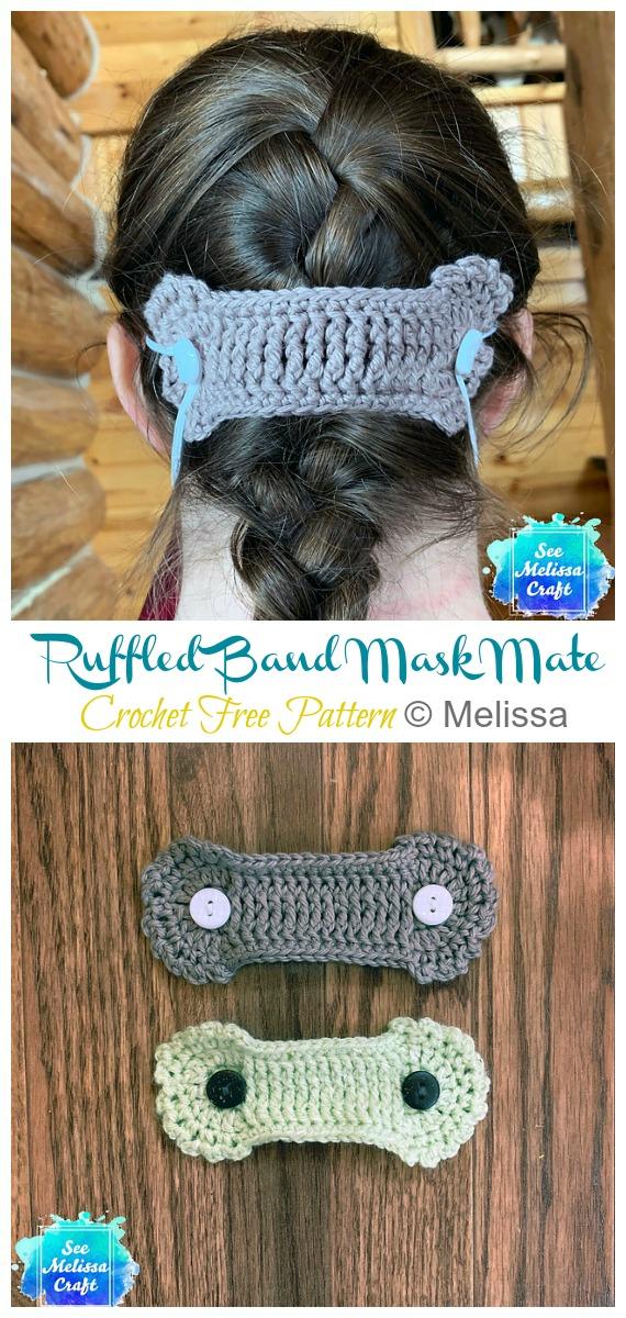 Ruffled Band Mask Mate Free Crochet Pattern - Face #Mask; Straps Ear Saver #Crochet; Free Patterns