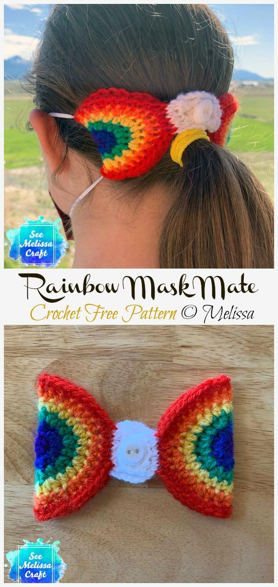 Crochet Rainbow Mask Mate Ear Saver Free Pattern - Face #Mask; Straps Ear Saver #Crochet; Free Patterns