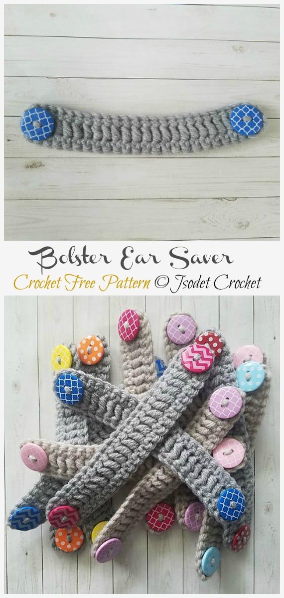 Crochet Bolster Ear Saver Free Pattern - Face #Mask; Straps Ear Saver #Crochet; Free Patterns